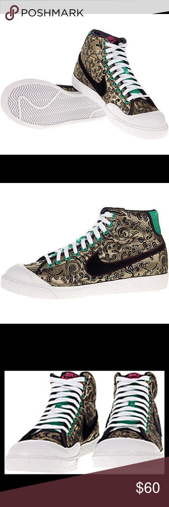 Nike All Court Black And Gold High Top Sneakers Funk meets fashion with the All Court model for the ladies. It features a canvas upper with eye-catching paisley design, signature swoosh, and green accents. Although a design like this is usually seen on grandma's couch, because Nike used gold and black it works fantastically on a sneaker. And, the added accent colors give a classic design a very modern and stylish look. This model is bound to be popular with ladies who want to add a little…