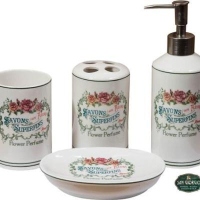 set 4 pezzi savons superfins flower perfume set bagno romantico