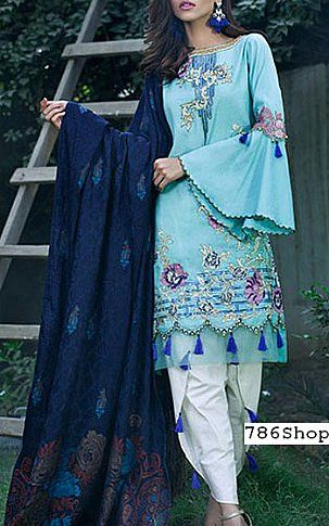 Turquoise/Blue Karandi Suit | Buy Sifona Pakistani Dresses and Clothing online in USA, UK