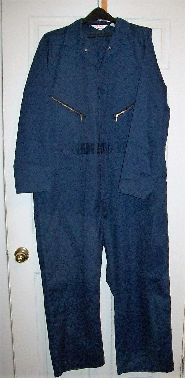 Vintage Navy Blue Zip Front Coveralls by Walls Size 50 Short Only 14 USD by SusOriginals on Etsy