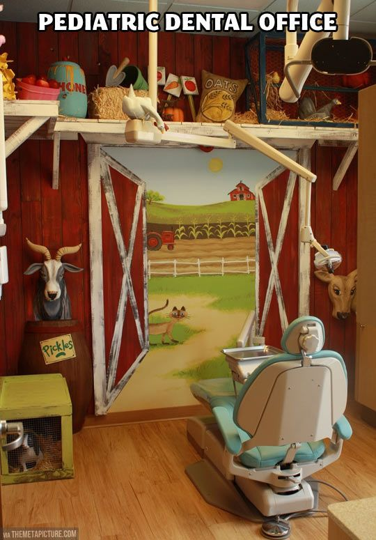 """Pediatric dental office  This is awesome and would definitely make the kids feel more comfortable. I never understood the """"kid dentists"""" with their boring, white walls and such. *I* hate those, so how do you think the kids would feel!?"""