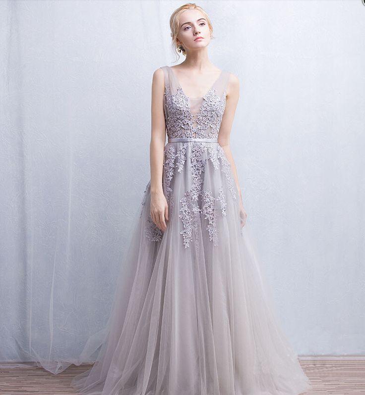 Grey Floral Lace Appliqués Floor Length Tulle Bridal