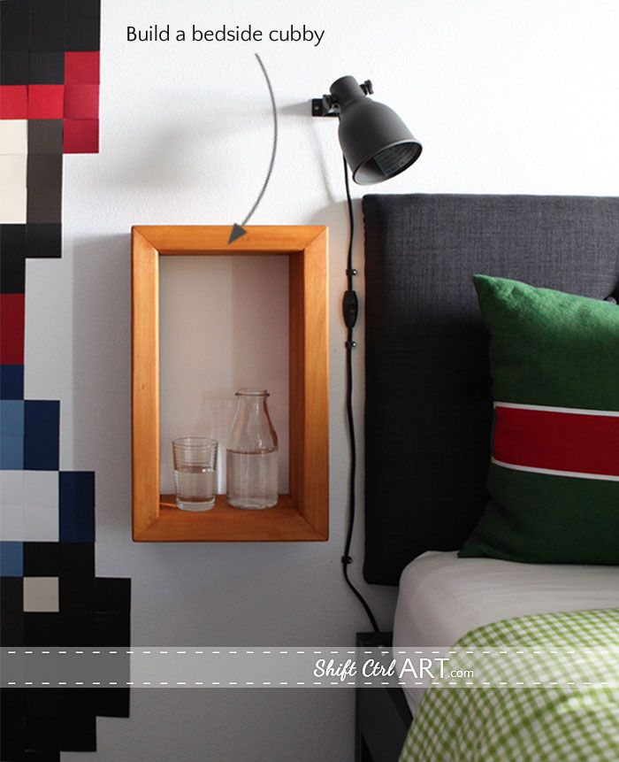 Use what you have: build a bed side cubby and 7 other DIY projects for a tween room. bedside cubby