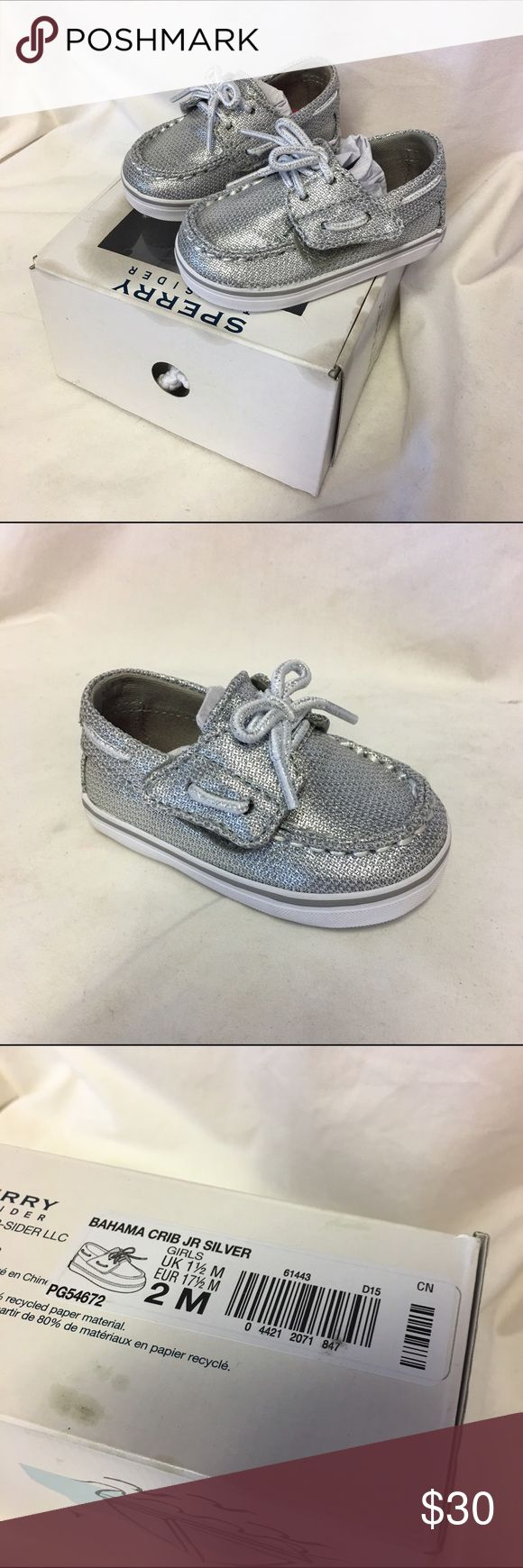 NEW NWT Stride Rite Junior Boat Shoes Silver 2 Does not come with box.  NEW NWT Stride Rite Junior Boat Shoes Silver Bahama 2  New without box (but tag on bottom).  Style is Bahama, size is 2.  #new #nwt #striderite #bahama #boatshoes #silver #kicks #coolkicks #summerkicks #giftable Sperry Shoes Baby & Walker