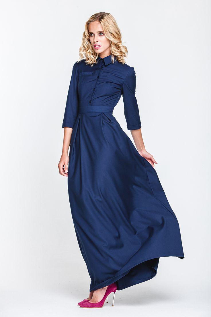 1737 Платье синее в пол с острым воротником купить в Украине, цена в каталоге интернет-магазина брендовой одежды Musthave