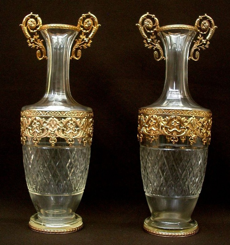 pair of antique french 12 tall decanters vase empire dore bronze antique glass pinterest. Black Bedroom Furniture Sets. Home Design Ideas