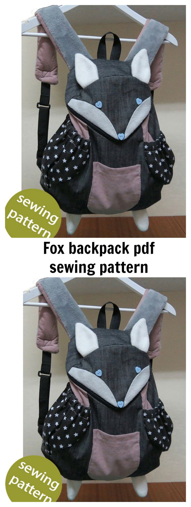 Fox backpack pdf sewing pattern. This trendy fox backpack is awesome for kids.