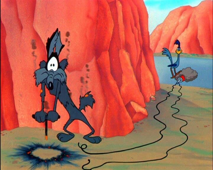Clever. The Road Runner is seen as clever in this picture because he switches the TNT to when Wile E. Coyote pushed the lever it blew up on himself.