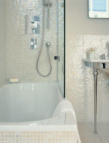 white 1 x 1 pearl shell tile bathroom board bathroom tiles rh pinterest com Mosaic Bathroom Tile pearl bathroom wall tiles