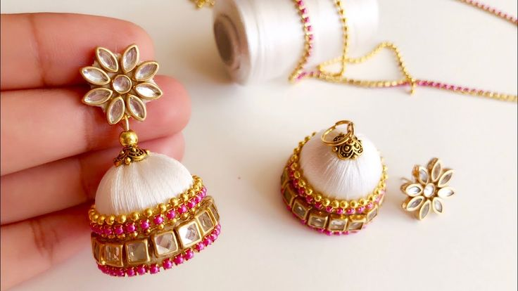 How to make beautiful silk thread jhumkas||silk thread elegant white jhu...