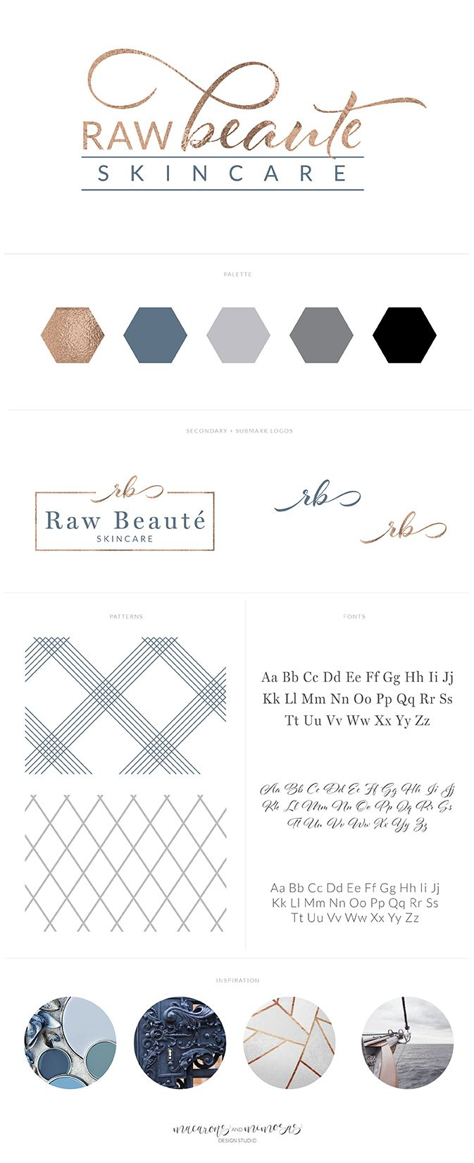 skincare logo branding, blue copper navy blue brand board, health and wellness logo, spa logo. navy, gold, turquoise, logo design, stationery, marble, botanical