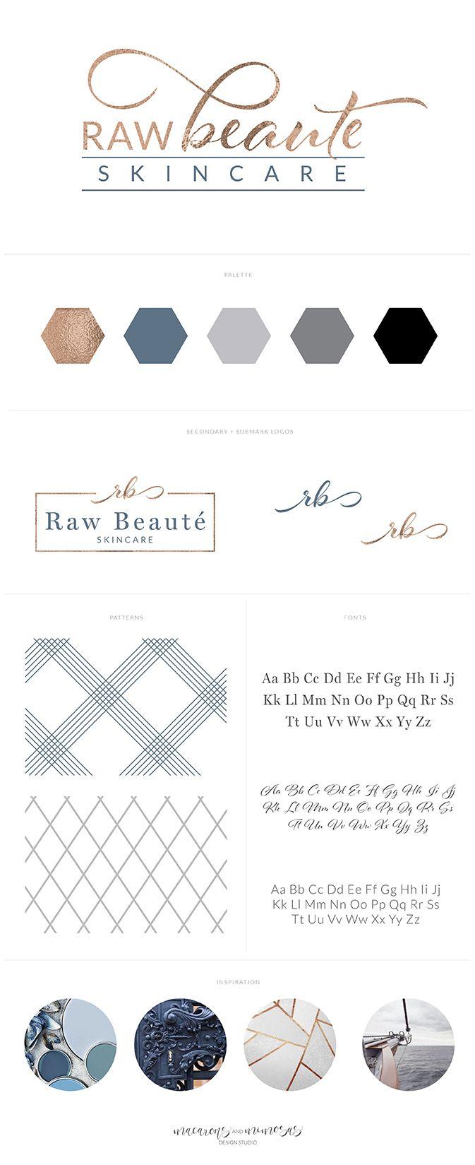 skincare logo branding, blue copper navy blue brand board, health and wellness logo, spa logo. navy, gold, turquoise, logo design, stationery, marble, botanical