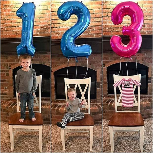 Sibling Photo Idea for Gender Reveal
