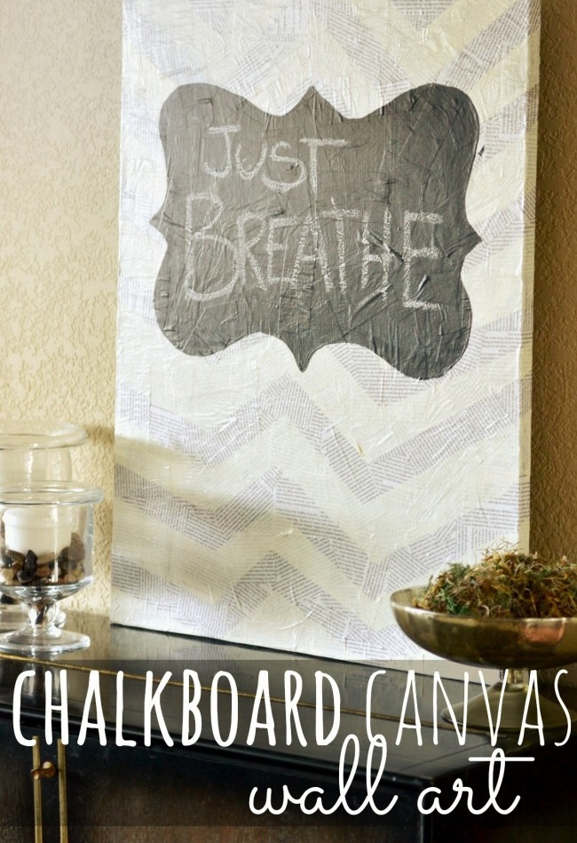 Chalkboard canvas wall art--really cool mixed media project!  Love that you can change it up to fit any season or occasion.