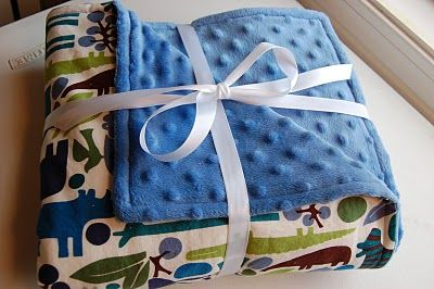 How to sew a minky blanket. So easy! I made mine big enough for Jameson and I to share. :)