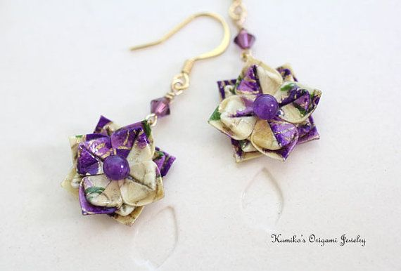 Joyería de Origami japonés Origami Flor aretes por KumikosOrigami