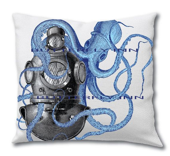 Blue Octopus Playing With Diver Helmet Decorative Pillow