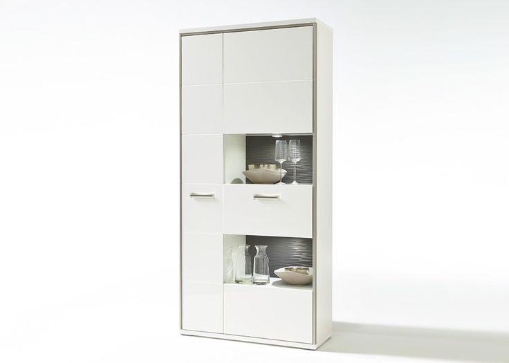 Vitrine Trento Weiß Hochglanz mit Grau 20690. Buy now at https://www.moebel-wohnbar.de/vitrine-trento-weiss-hochglanz-mit-grau-20690.html
