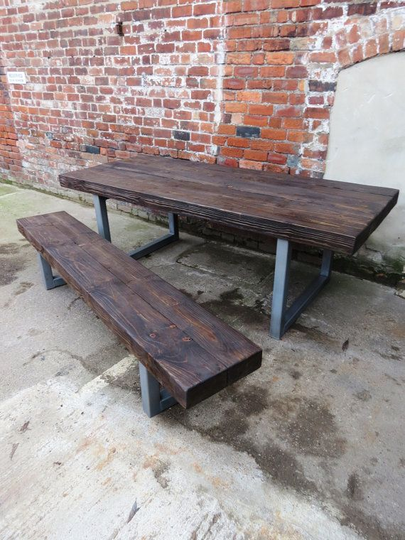 Reclaimed Industrial Chic 10-12 Seater Solid Wood and Metal Dining Table.Bar and Cafe Bar Restaurant Furniture Steel and Wood Made Measure