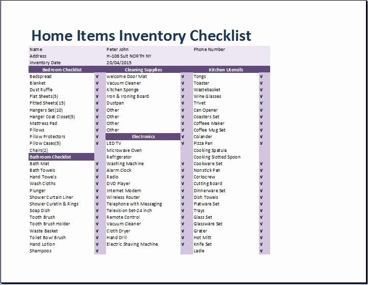 Estate Personal Property Inventory Form In 2020 Checklist Template