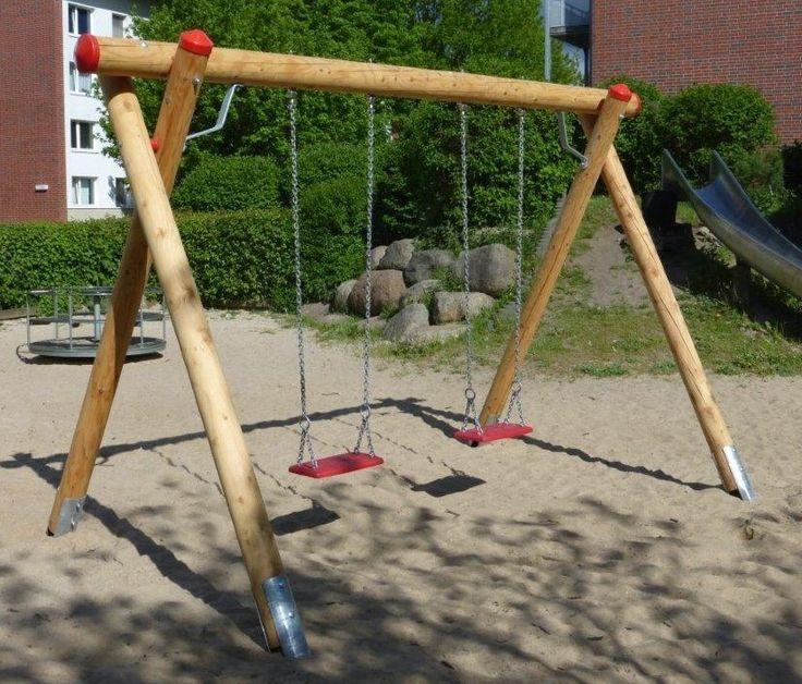 Holzschaukel Doppelschaukel EN 1176 Lärche geölt H: 225 cm