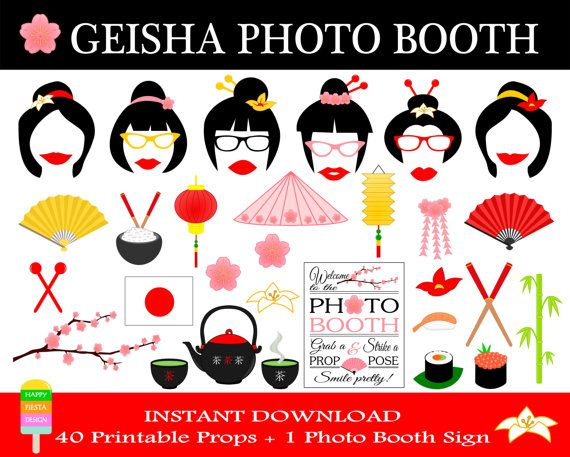Geisha Photo Booth Props–41 Pieces (40 Props,1 Photo Booth Sign)-Printable Japan, Asia, Geisha,Bridal Shower Photo Props-Instant Download