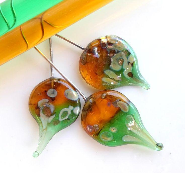handmade rustic glass headpins are glass charm beads for handmade jewellery...