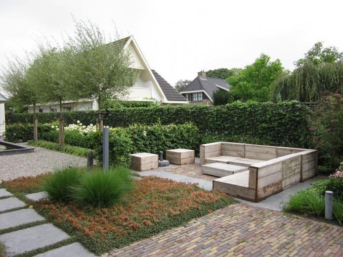 Tuin - Ontwerp - Strakke - Strak - Modern - Sloophout - Steigerhout - Lounge - Vierkant - Vlakken - Garden - Design - Fonteyn <3