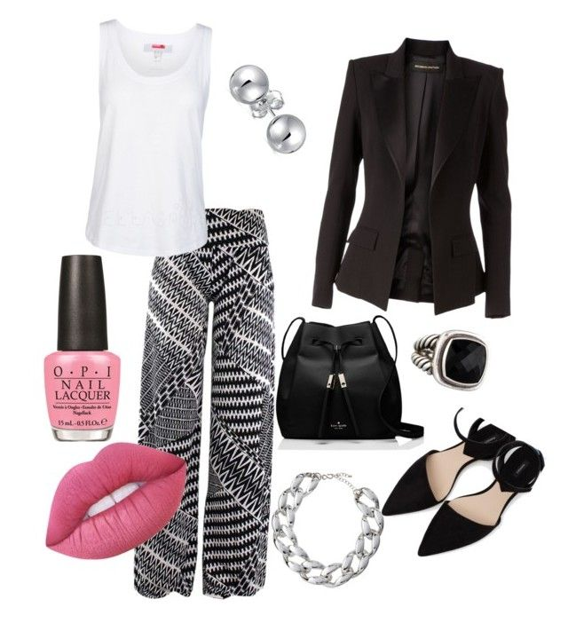 """""""Relaxed casual in black and whiteq"""" by syddeon on Polyvore featuring Alexandre Vauthier, MANGO, adidas, Kenneth Jay Lane, Bling Jewelry, Kate Spade, OPI, David Yurman and Lime Crime"""