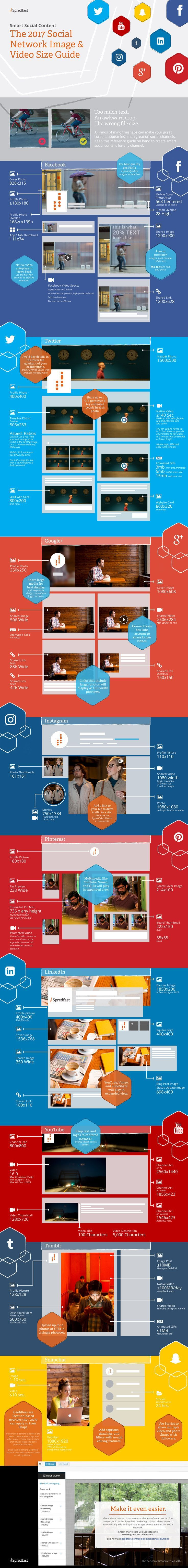This infographic compiles image and video specs for 9 major social media platforms. It's the ultimate guide for 2017. Never again scramble to figure out how big that Facebook image should be.