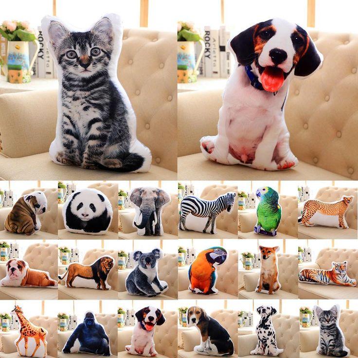 Creative 3D Милые Животные Подушку Кошка Собака Формы Бросить Подушку мягкий…