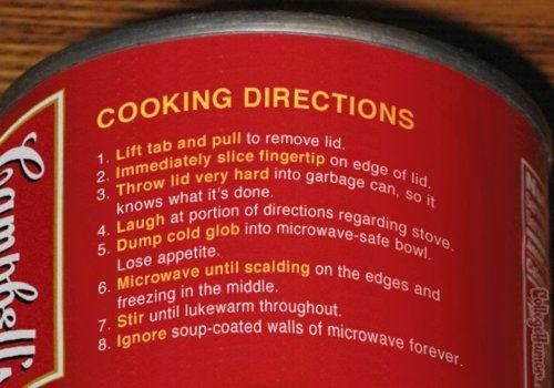 How to make soup from a can.