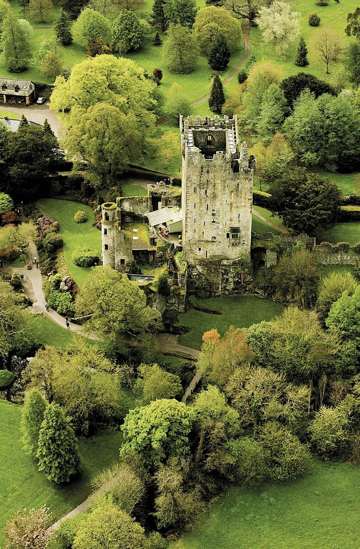 Unusual aerial view of Blarney Castle, in Ireland. The well known Blarney stone is built into the battlements here. [1,112 × 1,696] - Imgur