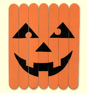 Jack-o-lantern puzzle from popsicle sticks.  I would make, but Lily would love!
