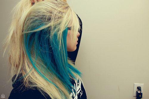 blonde + blue streaks.