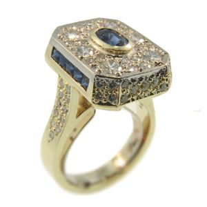 18ct Yellow & White Gold Ceylon Sapphire & Diamond Ring. Handmade at Cameron Jewellery
