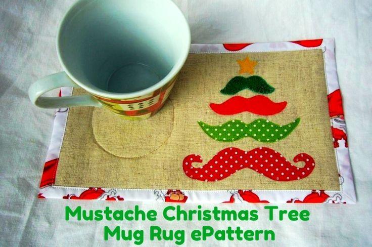 Mustache Christmas Tree Mug Rug ePattern ($1.99)  + Free tutorial - PDF Pattern by 3patchcrafts #quilting @Michelle Flynn Mark