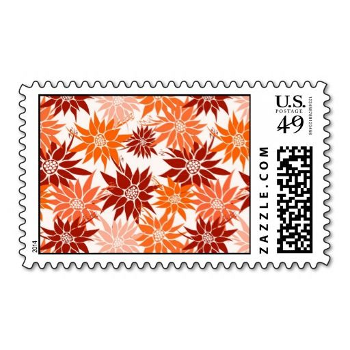 Orange Flowers postage  #postage #stamp #stamps #zazzle #flowers #floral #flower #nature