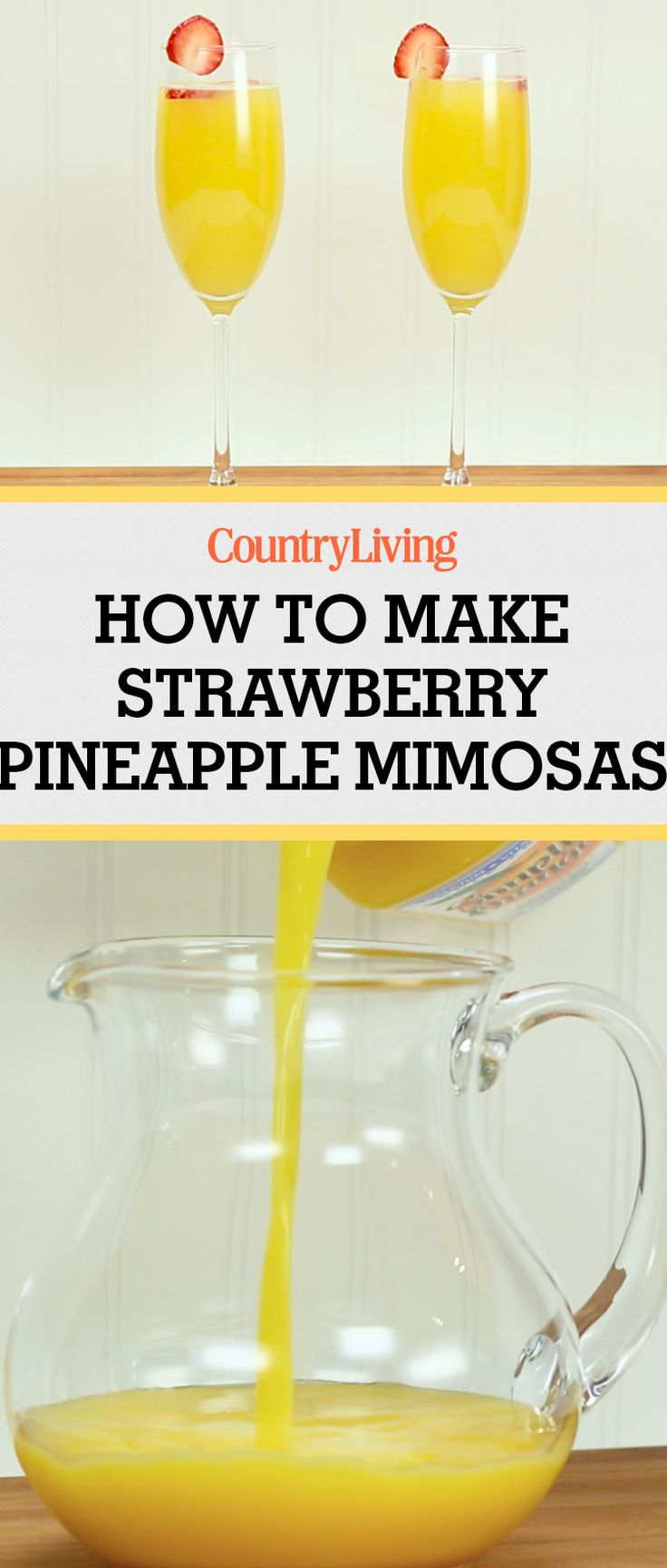 Strawberry Pineapple Mimosas are just what your brunch needs! These cocktails are so easy to make and delicious to drink! Cheers!