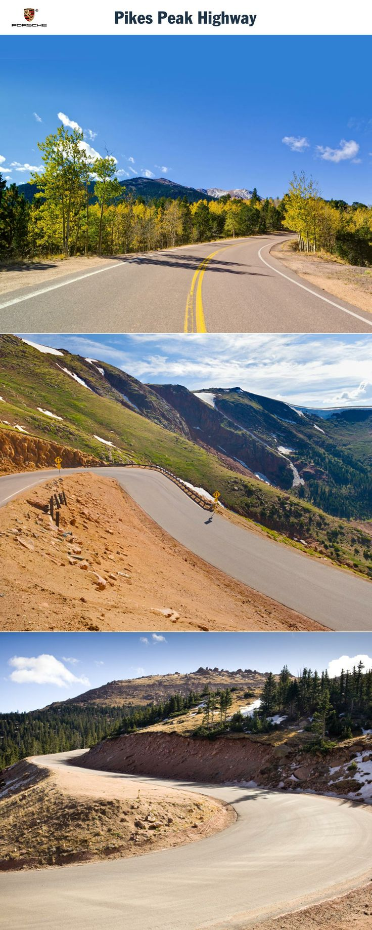 Pikes Peak Highway, USA. 156 bends. Full stop. Start: Cascade. Destination: Pikes Peak Summit. Driving time: Approx. 1 hour. Distance: Approx. 31 km (19 miles). Recommended travel time: April - November.   Learn more: http://link.porsche.com/gts/usa3