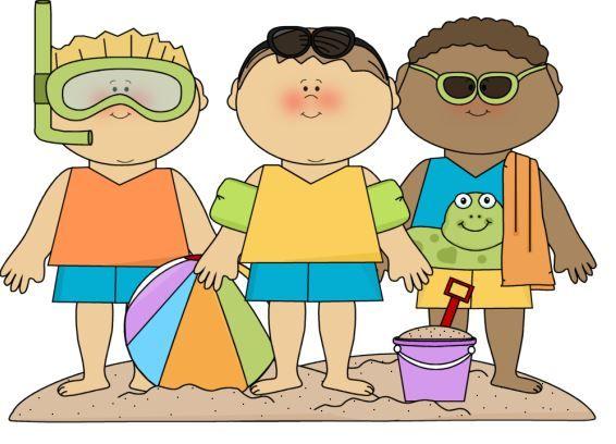 Boys at the beach clip art | Clip Art Everyday for Cards ...