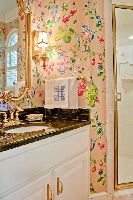 Bathroom with Thibaut wallpaper by May I Suggest Designs by MCS