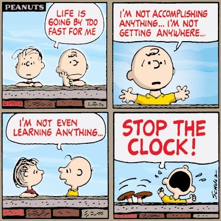 """Life is Going by Too Fast....STOP the Clock!"", Ahhhh, the Frustration of Charlie Brown."