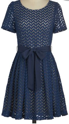 Darling chevron dress in navy.