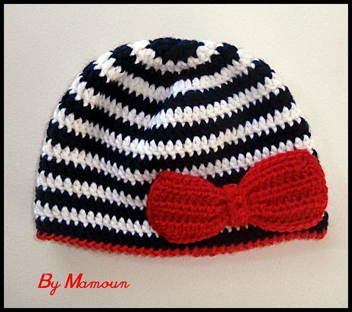 """Bonnet bébé en laine mérinos crocheté main """"Le Petit Marin au Féminin"""" : Mode Bébé par mamountricote"""