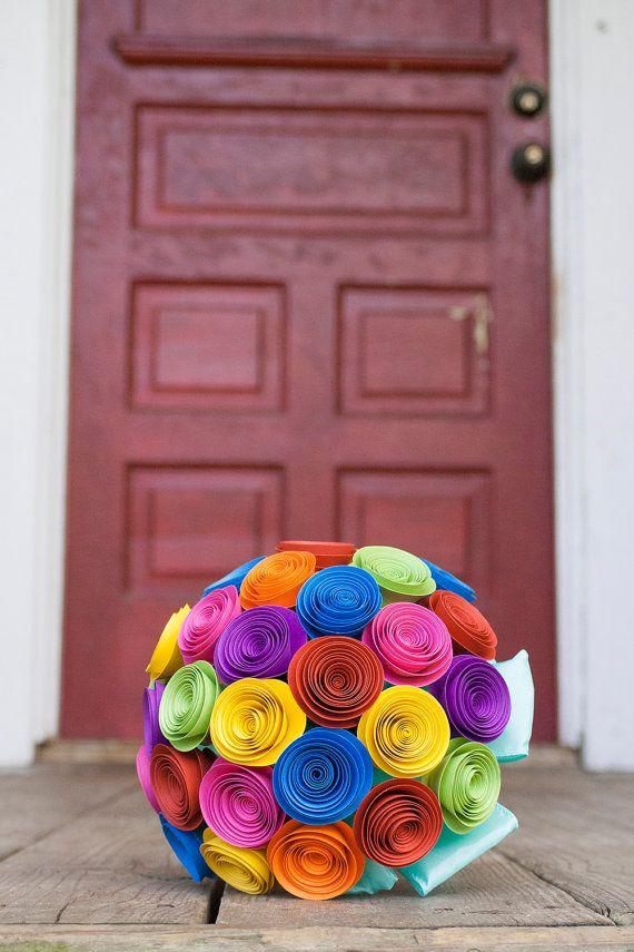 Paper Wedding Bouquet - Alternative Wedding Bouquet - Rose Wedding Bouquet - Bridal Bouquet - Colorful Bouquet - Paper Flower Bouquet
