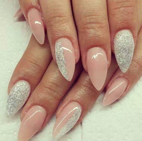 Beautiful nails 2016, Brilliant polish nails, Delicate beige nails, Glitter nails ideas, Long nails, Nails of natural shades, Office nails, Pastel nails