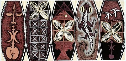 Fatu Feu'u Viiga poula - Adoration of fertility ritual by night / Woodcut 2001