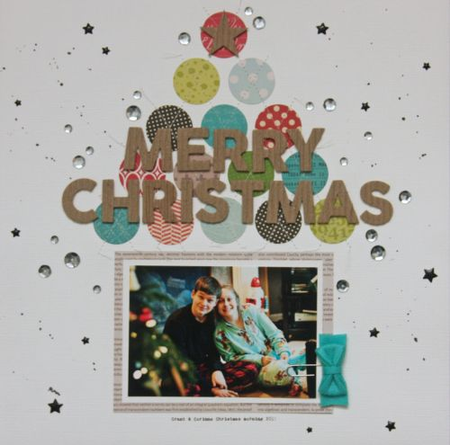 Merry Christmas Layout by Summer Fullerton featuring Jillibean Soup Soup Staples III, Chit Chat Chowder, Hardy Hodgepodge, Alphabet Soup II, Sew Sweet Sunshine Soup.