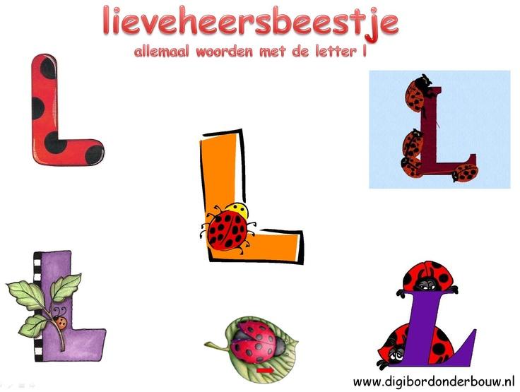 Digibordles over de letter L. De kinderen zoeken de woorden op die beginnen met de letter L. http://digibordonderbouw.nl/index.php/themas/dieren/lieveheersbeestjes